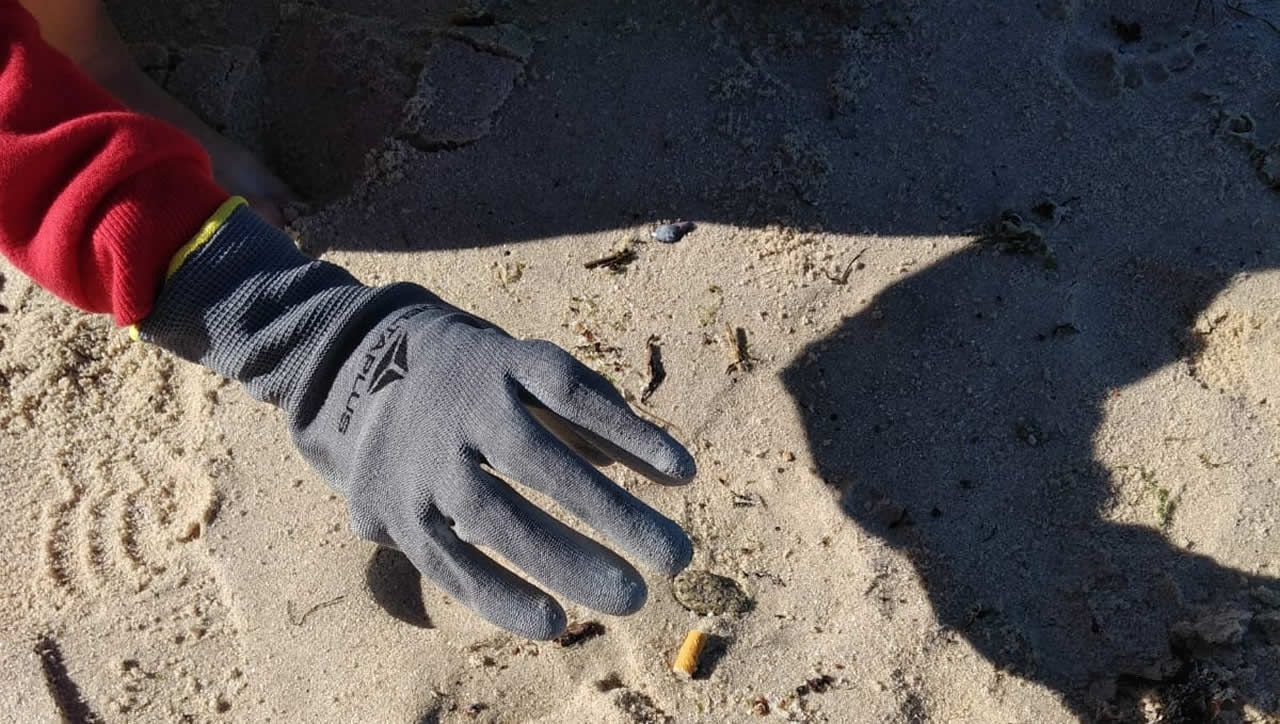 .Voluntarios en la playa de Portocelo, en Marín