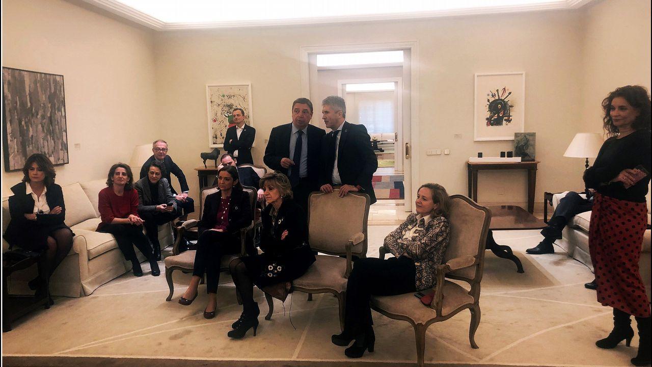 Sánchez arranca oficialmente la precampaña.Imagen de los ministros tomada por Meritxell Batet mientras observaban la comparecencia de Pedro Sánchez
