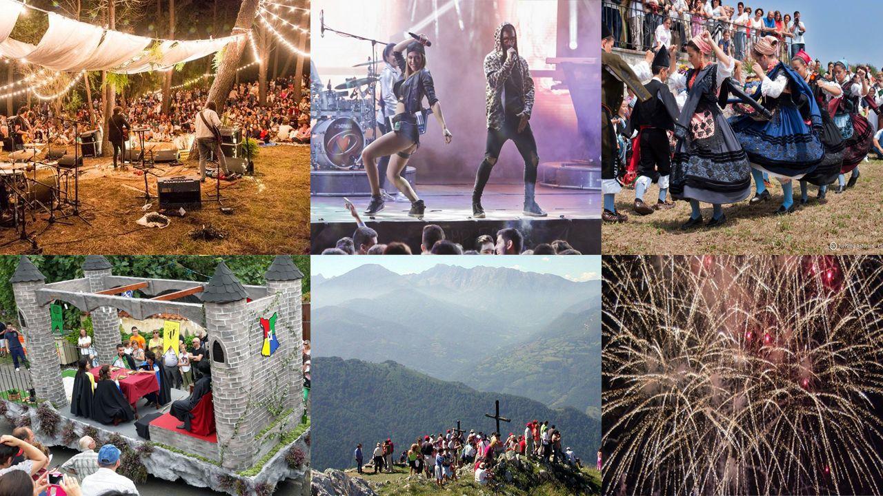 Collage fiestas verano agosto asturias ewan festival orquesta Assia carrozas valdesoto fuegos artificiales.
