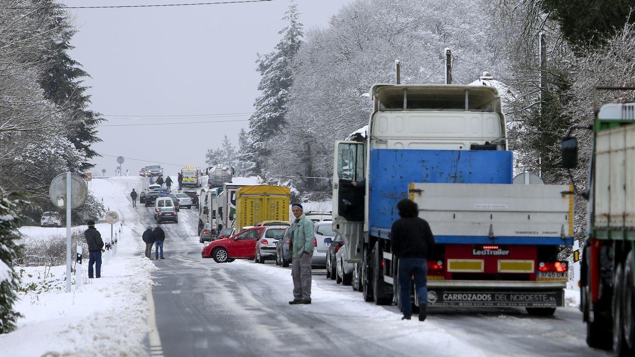 .La nieve dificulta la circulación en la N-640 a la altura del kilómetro 85 provocando grandes retenciones.