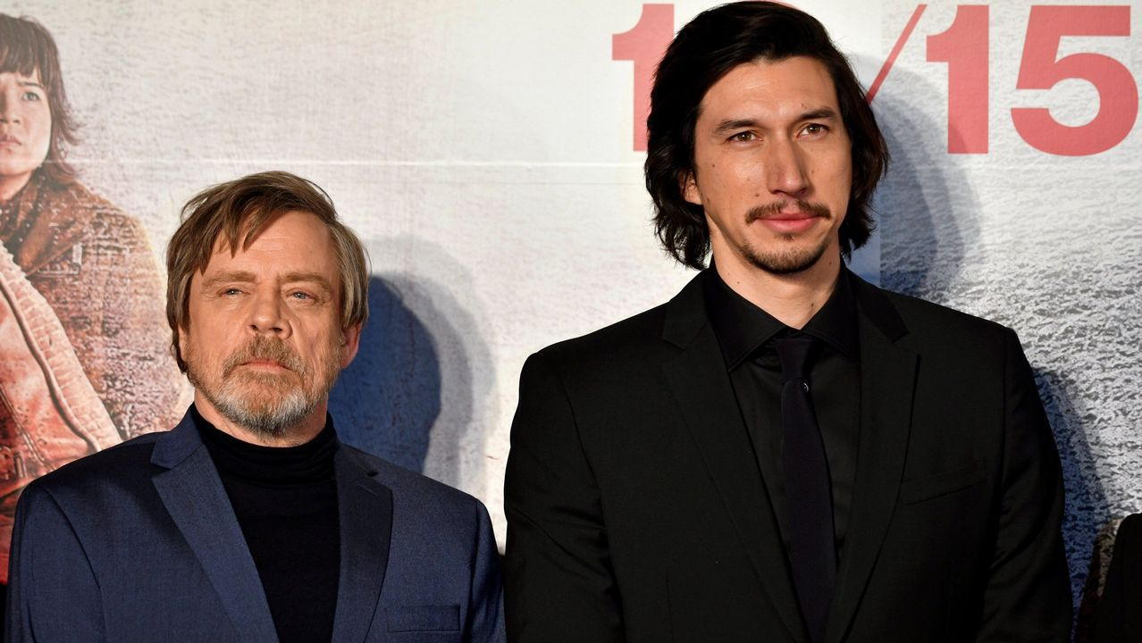 Mark Hamill y Adam Driver en el estreno de 'Star Wars: Los últimos Jedi'