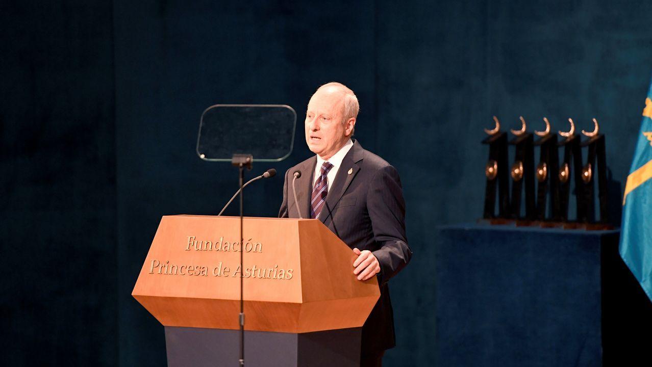 Las mejores imágenes de la ceremonia.Michael J. Sandel durante su discurso en la ceremonia de entrega de los Premios Princesa de Asturias 2018.