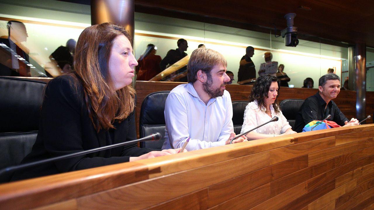 Ciudadanos oviedo.Los cuatro diputados que integran el grupo parlamentario de Podemos en la Junta General