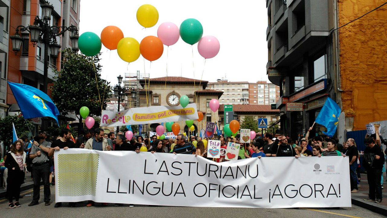 Casado contra la oficialidad.La pancarta que encabeza la Marcha por la Oficialidá de 2018 en Oviedo