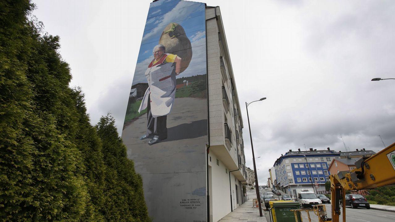 .Conocido mural de Yoseba M.P. en la rúa Vila de Negreira