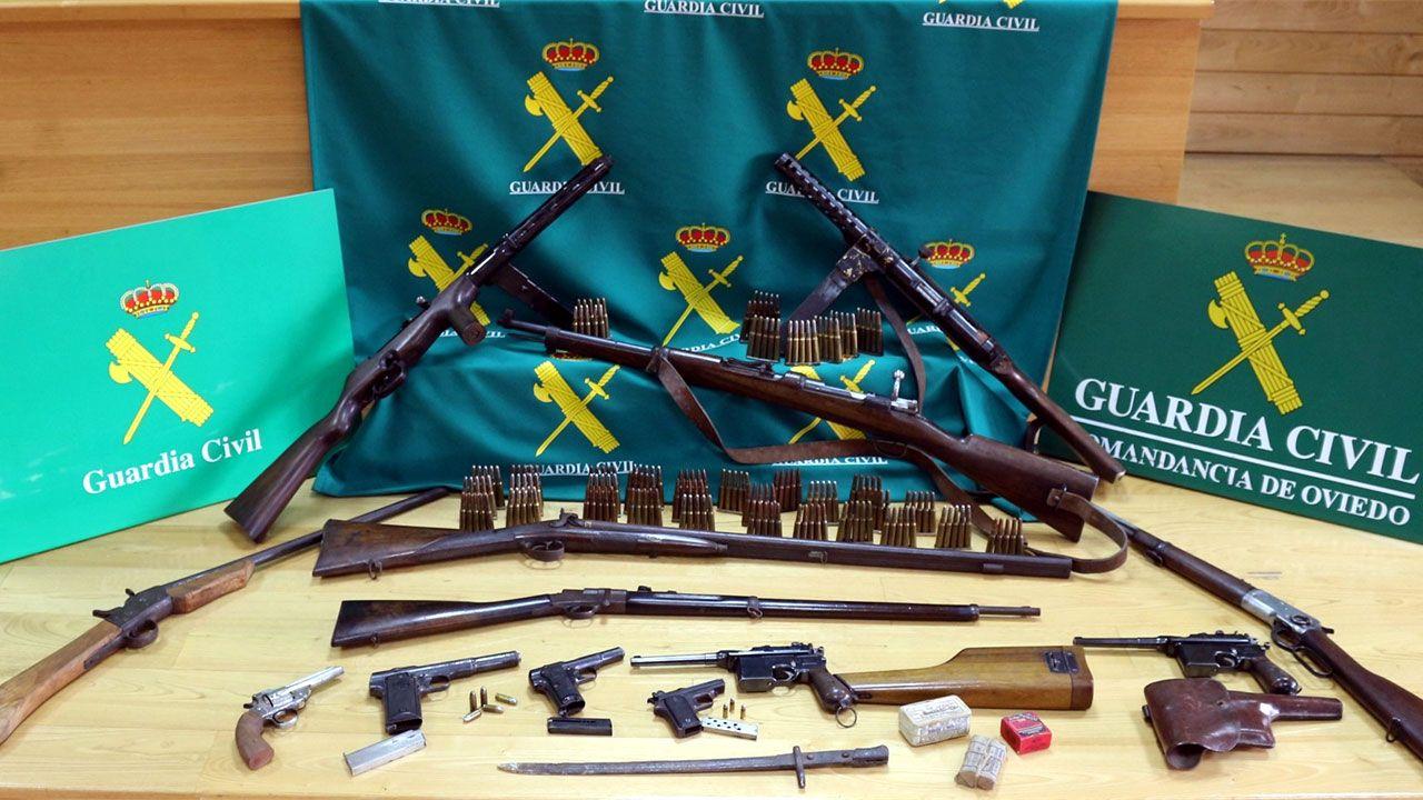 Armas halladas en una vivienda rural de Mieres