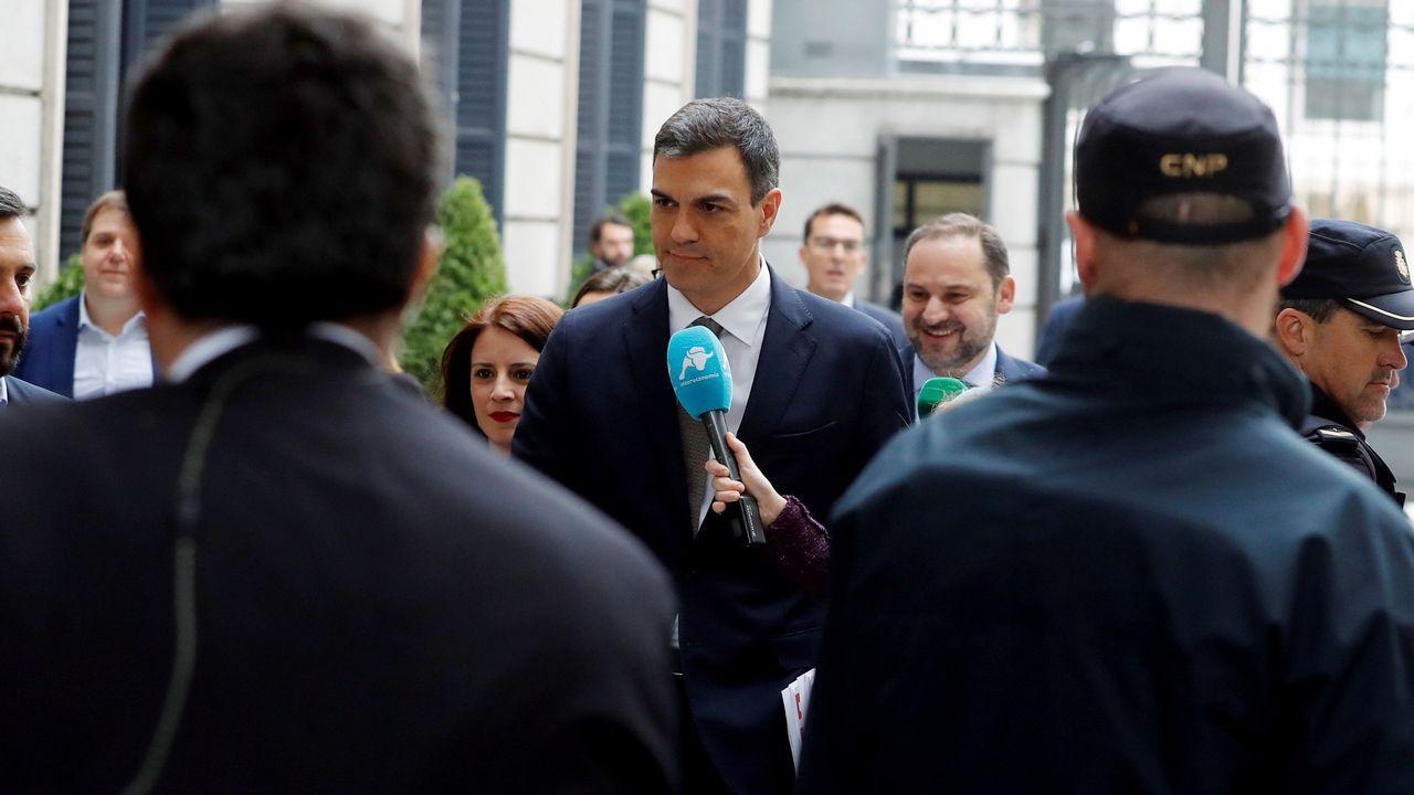 Pedro Sánchez a su llegada al Congreso.