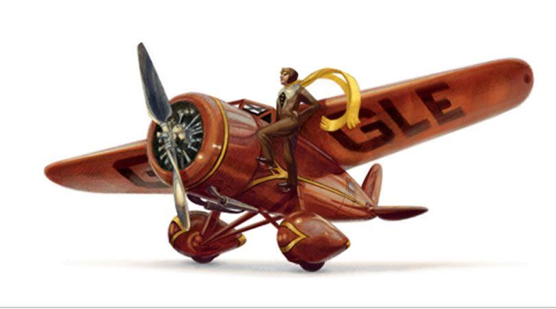 Amelia Earhart homenajeada en el doodle de Google en el 115 aniversario de su nacimiento