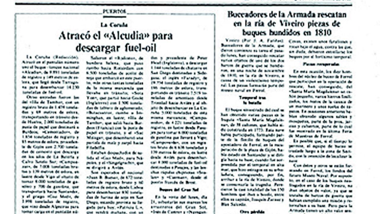 Noticia en La Voz sobre la recuperación de restos de la fragata La Magdalena