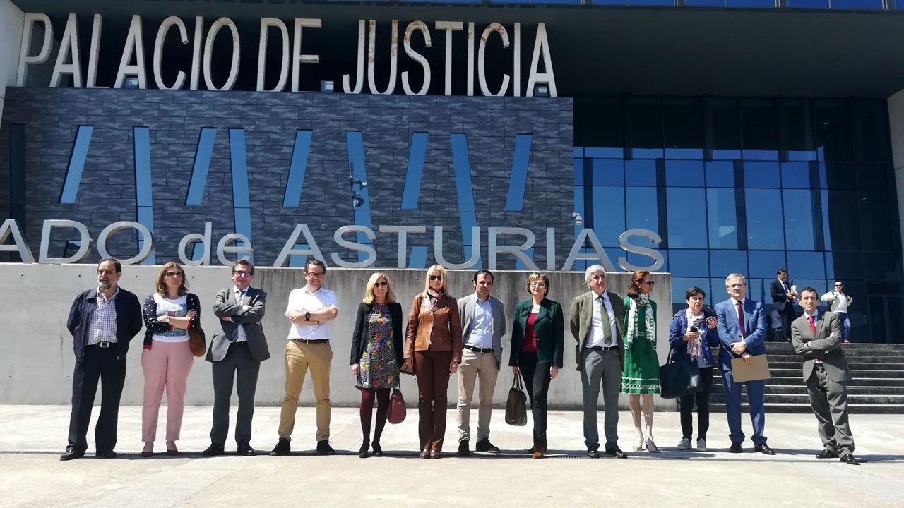 Pedro Sánchez escucha cómo Javier Fernández atiende a los medios de comunicación, durante una visita a Asturias.Jueces, magistrados y fiscales en huelga ante el Palacio de Justicia de Gijón
