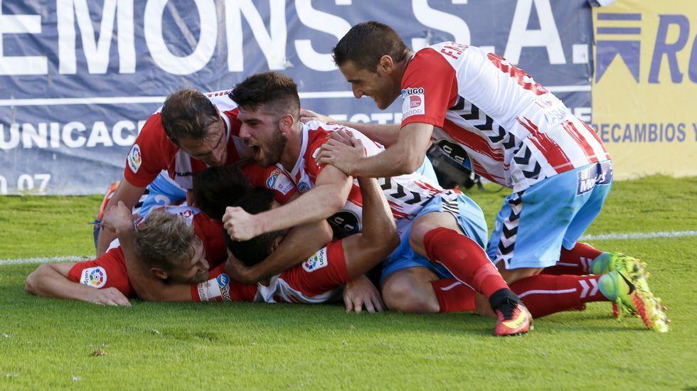 Los jugadores del Getafe celebran su victoria ante el Lugo