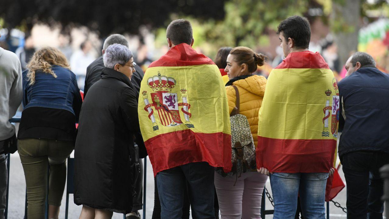 Desfile del Dia de la Fiesta Nacional: Asistentes ataviados con la bandera de España