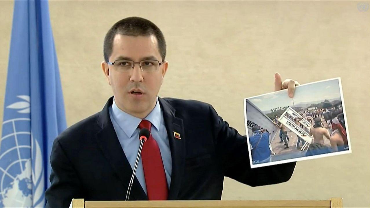 El ministro de Relaciones Exteriores de Venezuela, Jorge Arreaza, durante su intervención en el Consejo de Derechos Humanos de la ONU
