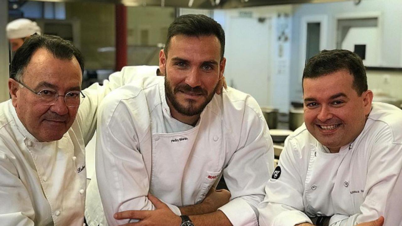.Saúl Craviotto con Pedro y Marcos Morán