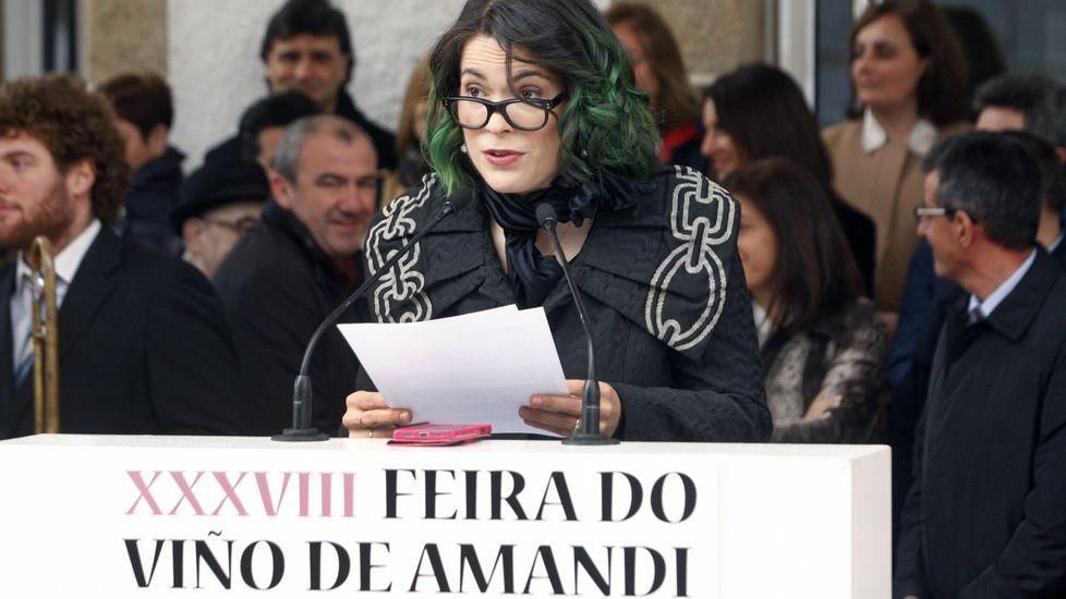 La gaiteira Cristina Pato, durante la lectura del pregón