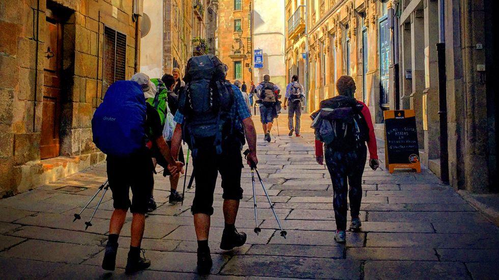 Entrada del Camino en el casco histórico de Compostela.Entrada del Camino en el casco histórico de Compostela