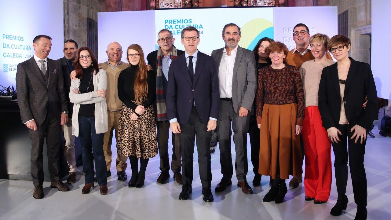 EFE.Feijoo, durante la presentación de los candidatos a las siete ciudades gallegas, el sábado en Santiago