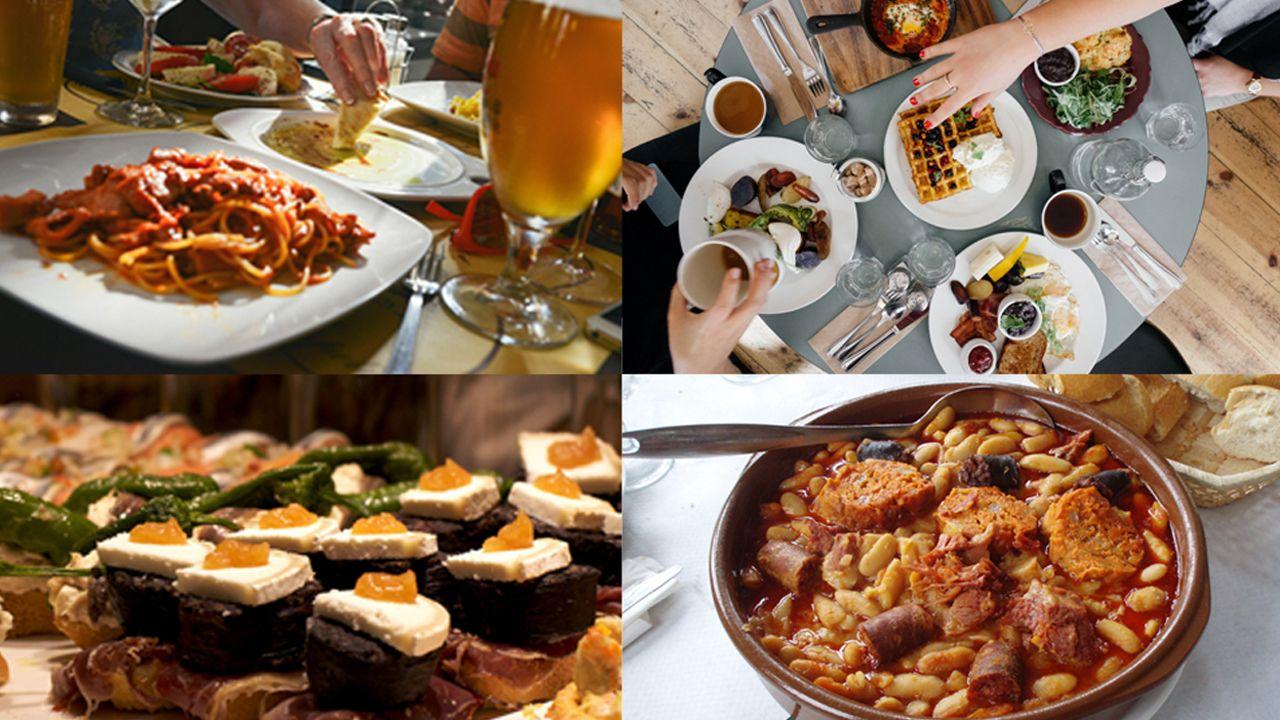 Composición con diferentes platos de comida