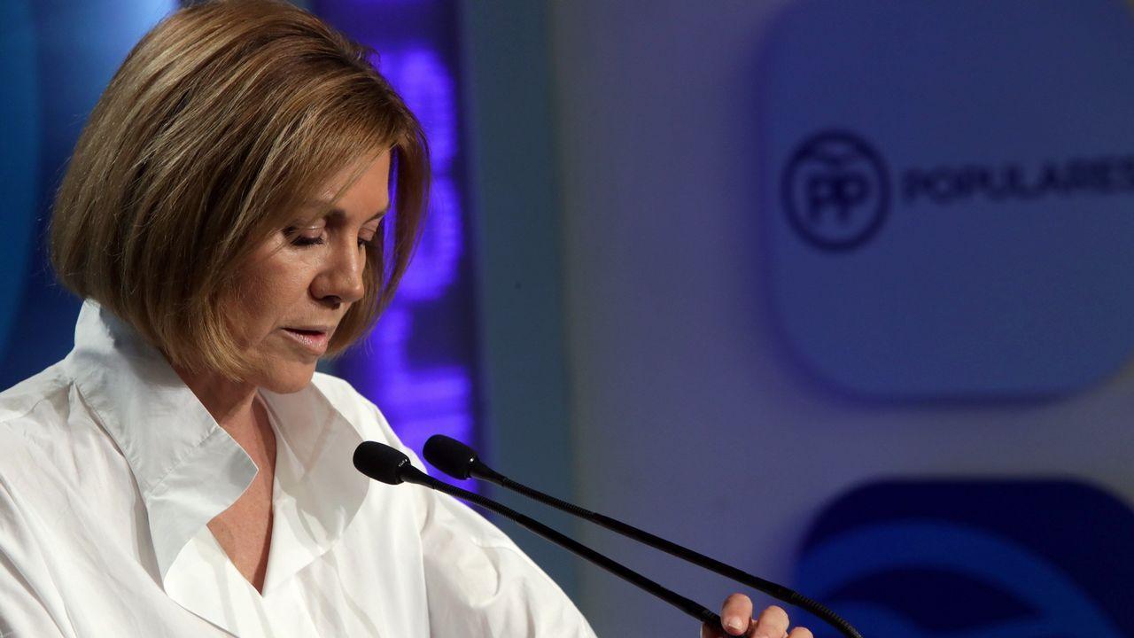 Pablo Casado: «Si presido el PP, Feijoo será lo que él quiera».Casado, ddurante la rueda de prensa en la que presentó la documentación sobre su máster, en abril del 2018