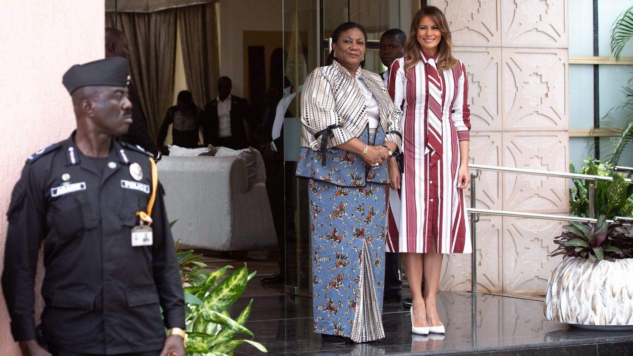 Los atuendos de Melania Trump durante su visita a África.Macron ha dedicado toda la semana a recorrer los escenarios de la Primera Guerra Mundial en el norte del país