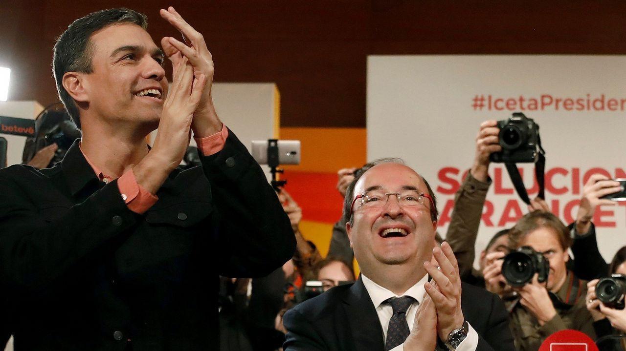 Iceta matiza: «A Cataluña no le conviene la independencia y un referéndum no es la solución».Casado afea a Sánchez que airee las conversaciones privadas con el rey, y le recuerda que solo se comentan sus declaraciones públicas