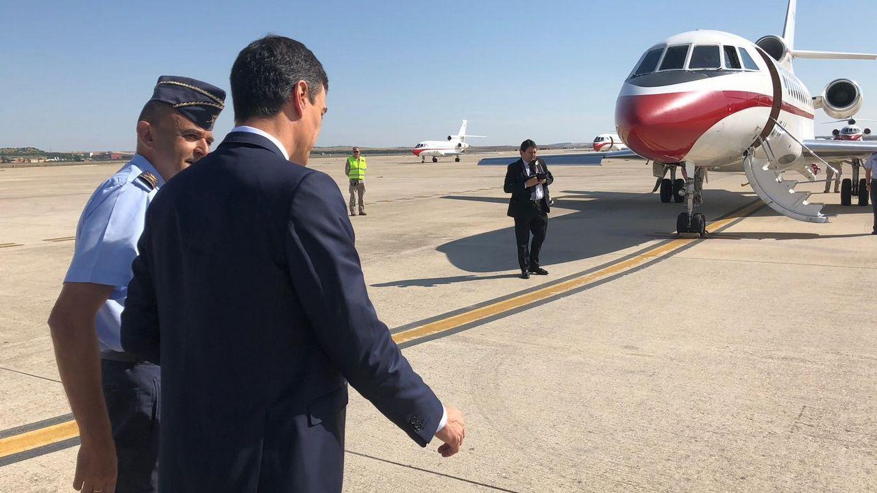 Pedro Sánchez, en la base de Torrejón, ante de un viaje oficial el pasado junio