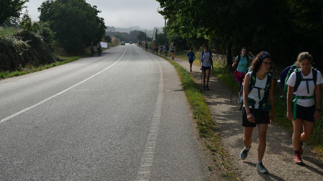 El Camino transcurre de forma paralela a la carretera en este tramo