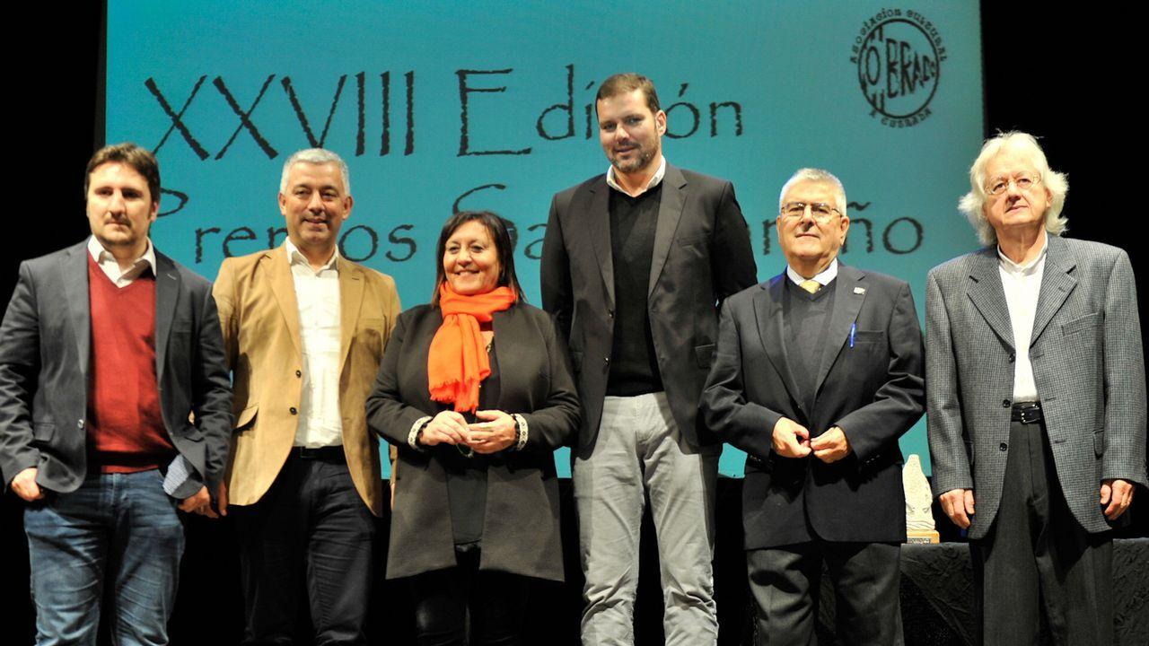 Os presidentes das academias galega e brasileira, pouco antes da firma do convenio de colaboración