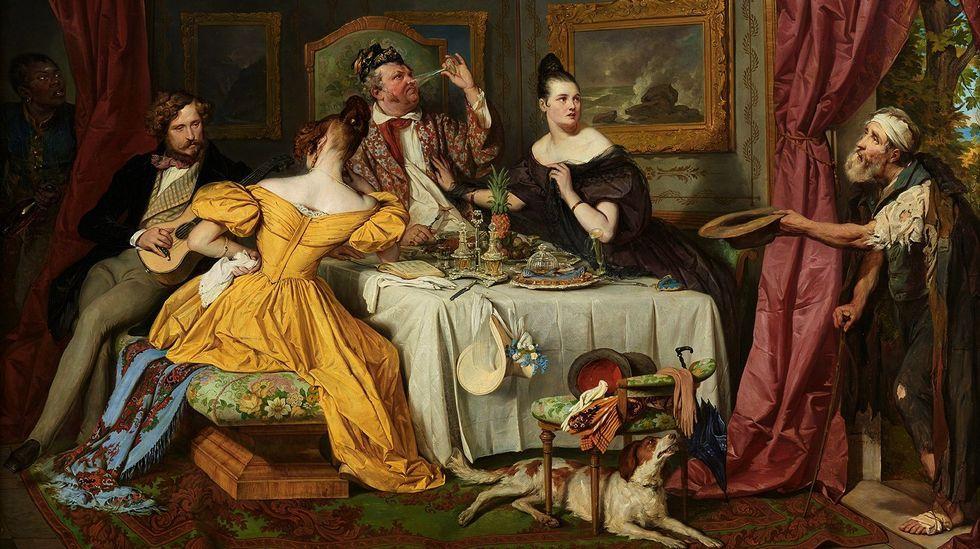 .«El hombre rico y el mendigo Lázaro» (1836), obra de Josef Danhauser, inspirada en la parábola del evangelio de Lucas (Viena, Österreichische Galerie Belvedere)