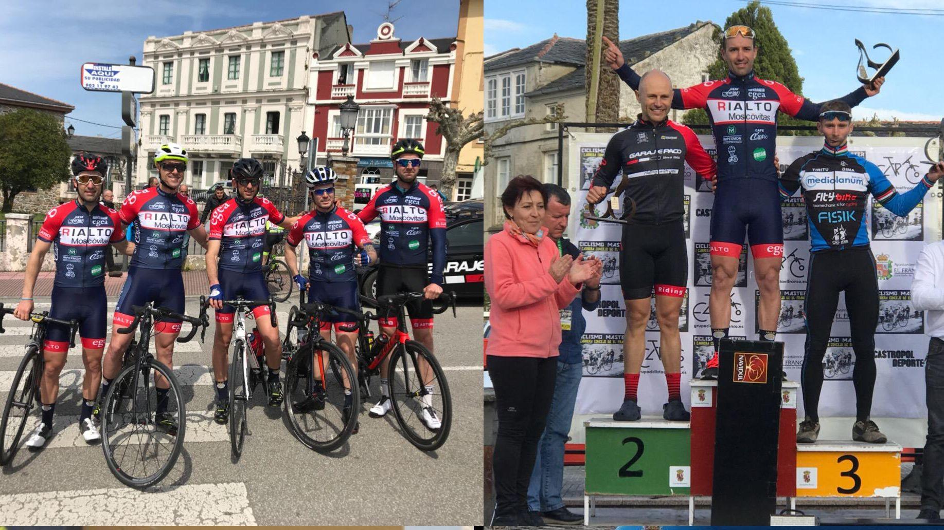 .A la izquierda el Equipo Moscovitas de Rialto y José Luis Pico con los otros dos ganadores de la I Carrera de ciclismo máster en El Franco, a la derecha