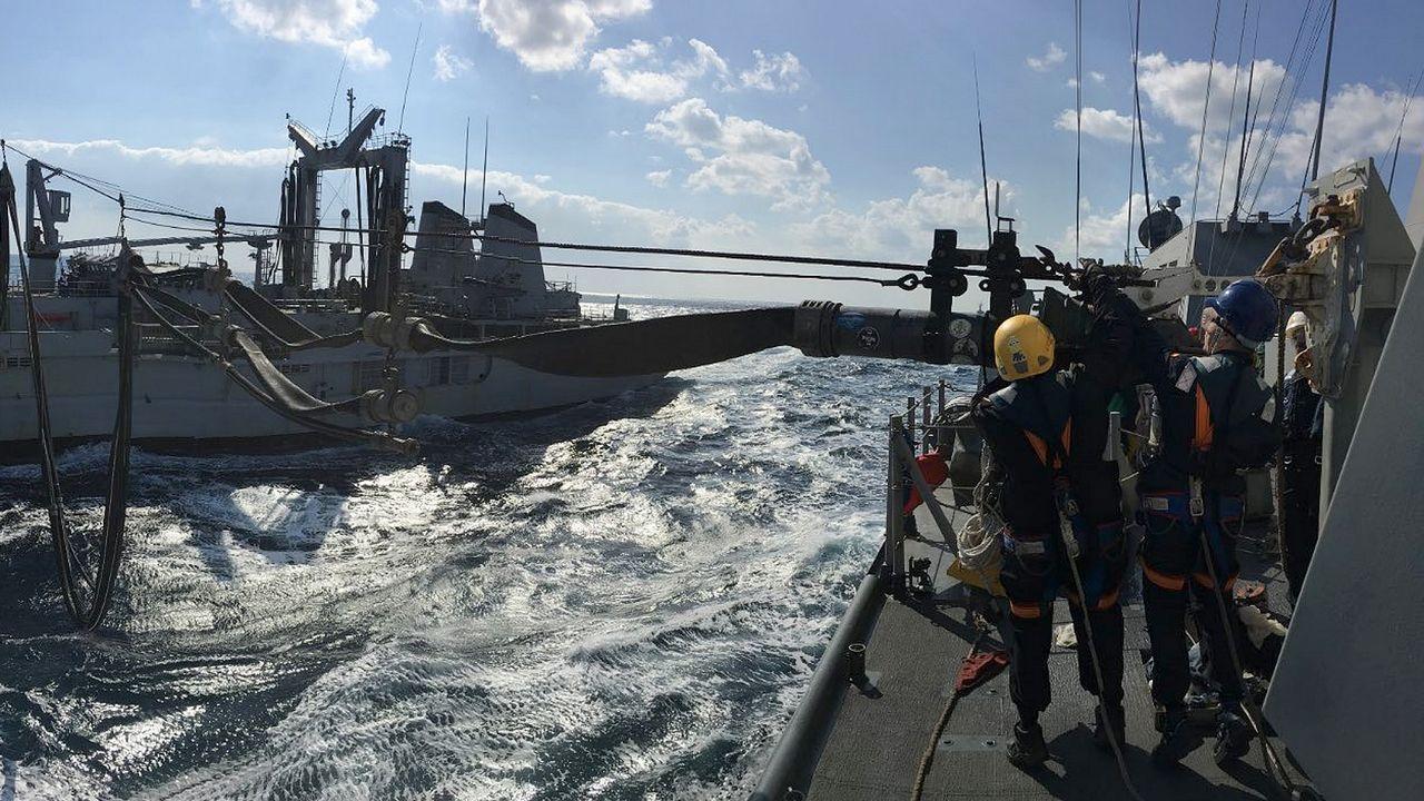 Cachorros buscan hogar en Vilagarcía.Uno de los ejercicios de la F-103 con un buque de la Marina francesa