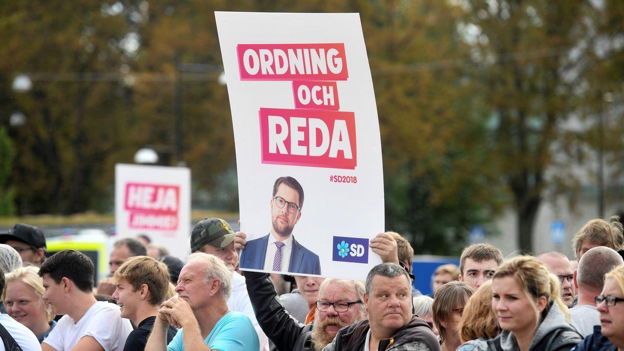 Empate técnico en Suecia entre los socialdemócratas y la derecha con la ultraderecha como tercera fuerza.El ultra Akesson en el cierre de campaña