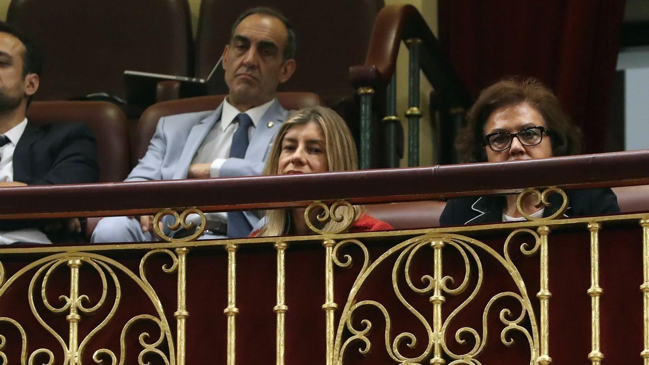 La mujer del secretario general del PSOE, Pedro Sánchez, en la tribuna de invitados del hemiciclo.