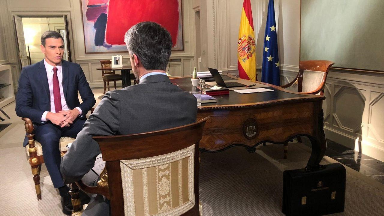 Pedro Sánchez, durante su entrevista para TVE