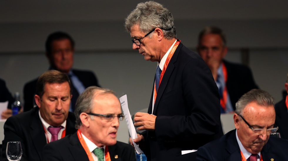 Villar, junto al vicepresidente Juan Padrón, en una asamblea de la RFEF.