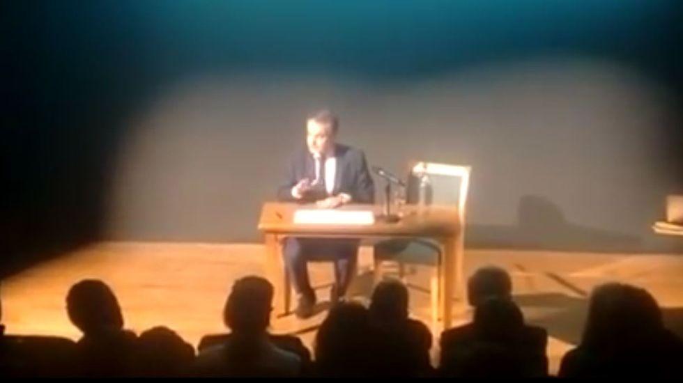 Zapatero y su inglés en una charla en la Universidad de Oxford.