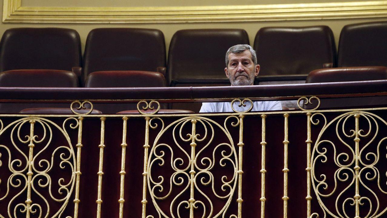 El exjemad y líder de Podemos en Madrid, Julio Rodríguez, en la tribuna de invitados del hemiciclo.