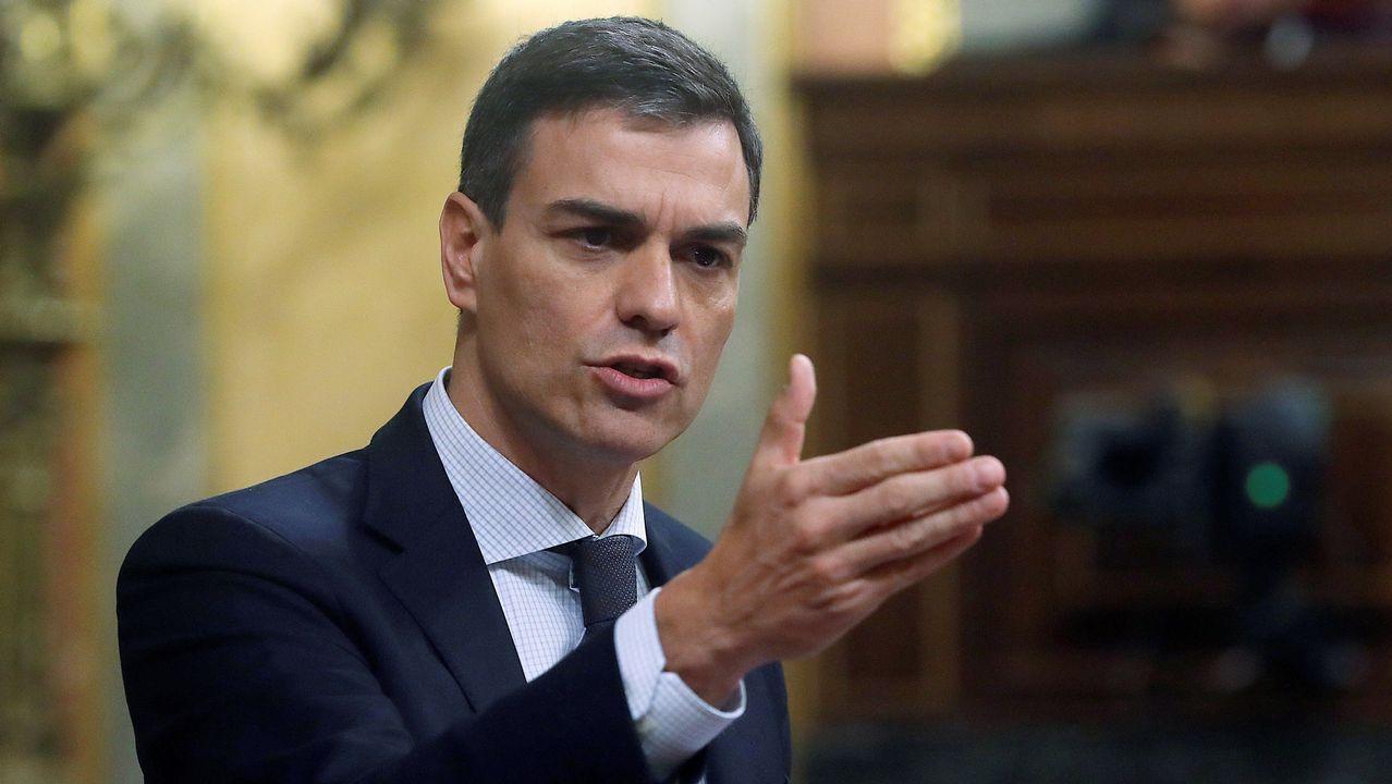 .Pedro Sánchez, durante su intervención en el hemiciclo de esta mañana