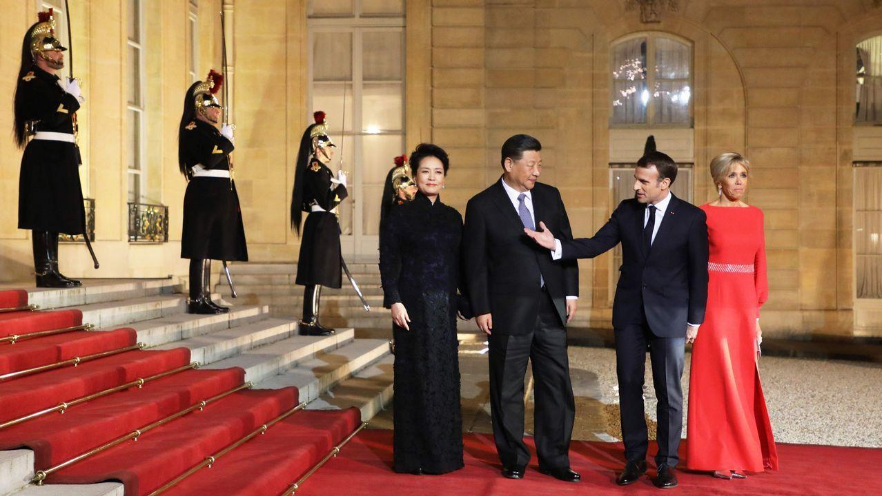 Macron recibió a Xi y a su mujer en el Elíseo para una cena de gala