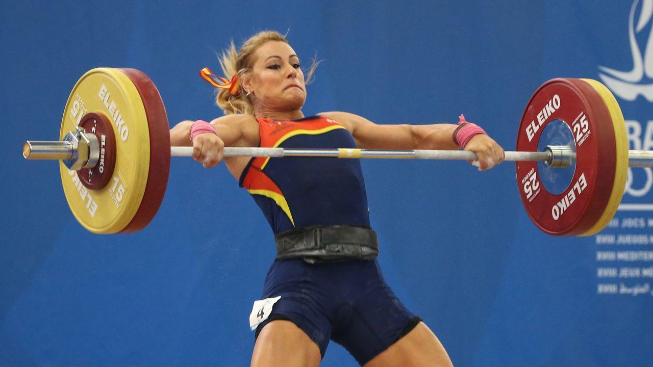 .Lidia Valentín, durante su actuación en la categoría de 85 kilos, en la que ha conseguido el oro, en los Juegos del Mediterráneo