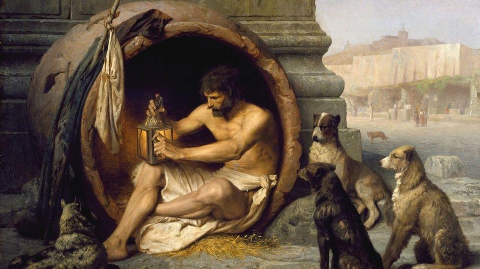 Diógenes prepara el candil para continuar su representación metafórica de buscar un hombre honesto. Jean-León Gérôme (1824-1904)