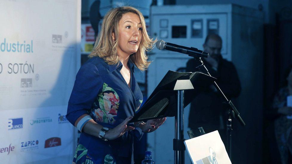Trail del Pozo Sotón.La presidenta de Hunosa, María Teresa Mallada, interviene en la inauguración de la tercera edición de la Feria de Turismo Minero e Industrial en el Pozo Sotón