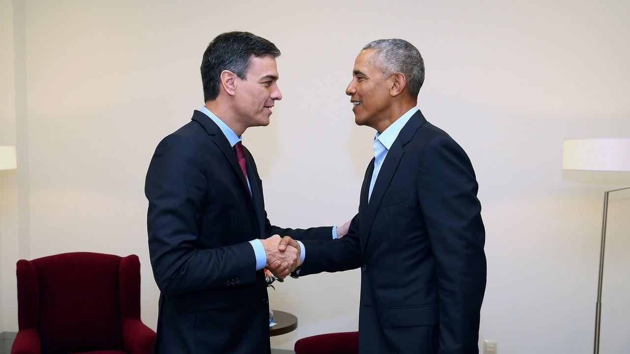 .Encuentro entre el expresidente de Estados Unidos Barack Obama y el presidente del Gobierno español, Pedro Sánchez