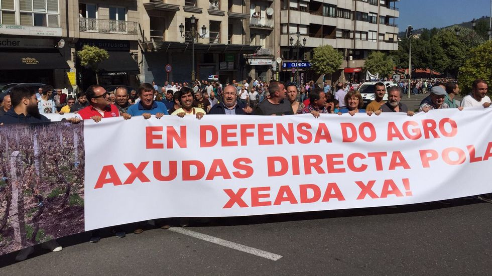 Manifestación de agricultores.Ventura Sierra, alcalde de Vilariño de Conso