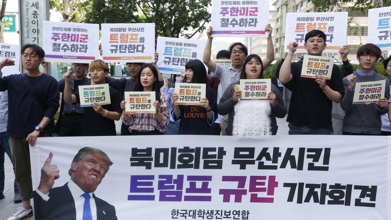 .Manifestantes en Corea del Sur contra la cancelación de la cumbre entre Piongyang y Washington