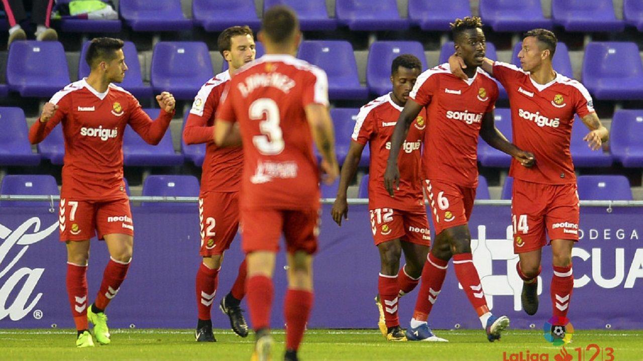 .Jugadores del Nàstic celebrando un gol al Valladolid