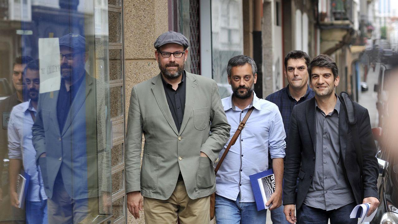 Manifestación investigadores de la USC.Noriega, Ferreiro y Suárez, en una imagen de archivo
