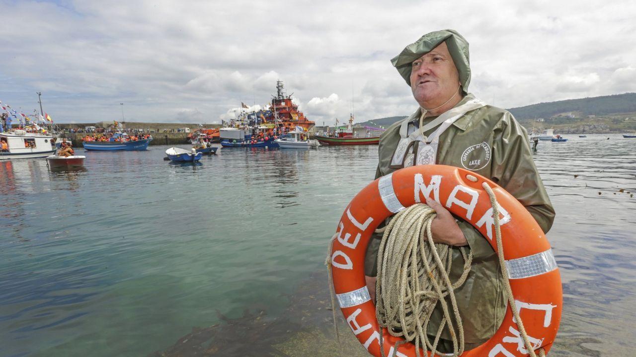 .Luis Lema, en el simulacro de naufraxio de 2015