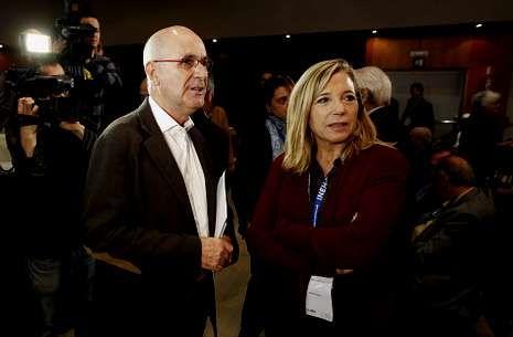Duran Lleida y la vicepresidenta Joana Ortega, de Unió, ayer en la jornada «Valores y política».