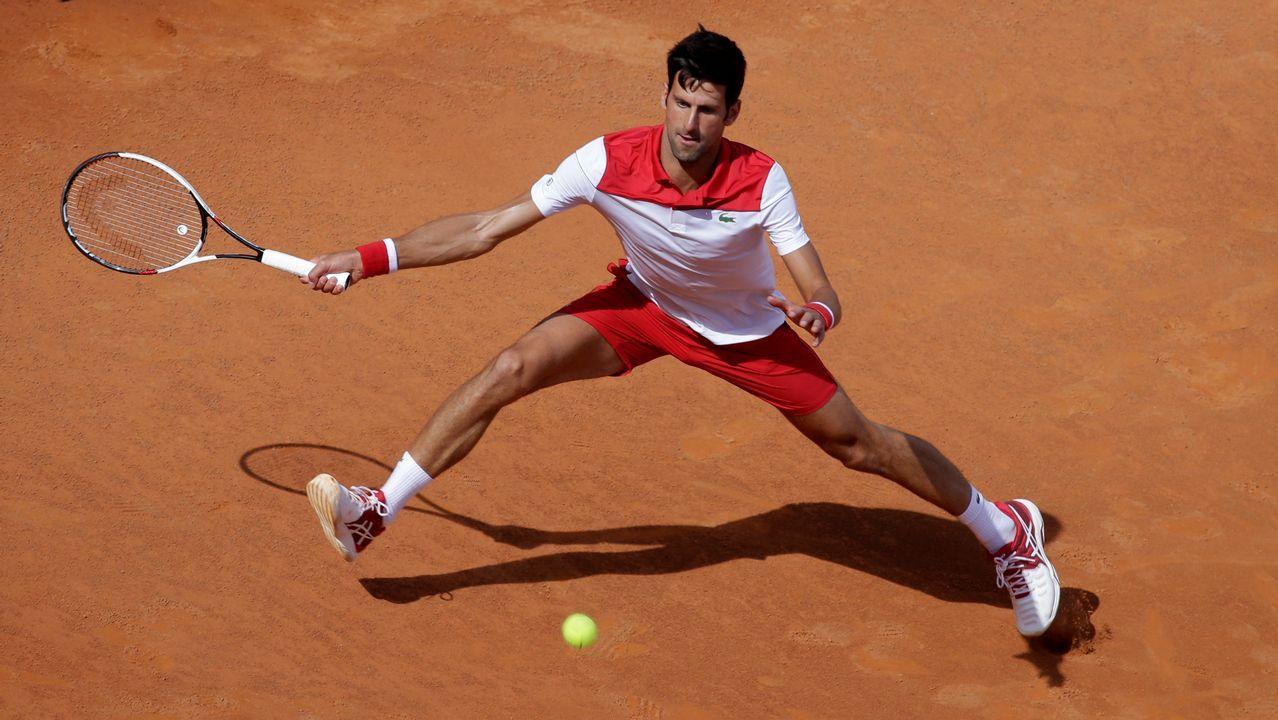 .Novak Djokovic durante un partido en el Masters 1000 de Roma contra el ucraniano Alexandr Dolgopolov